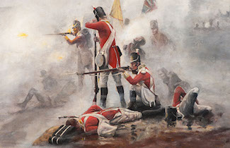 Painting of fog of war on a 19th Century battlefield.