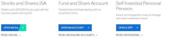 Screenshot showing three main broker account options (Trading Account, Stocks and Shares ISA, and SIPP)