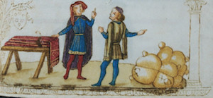 Image of two medieval traders, the pre-cursors to modern markets and brokers